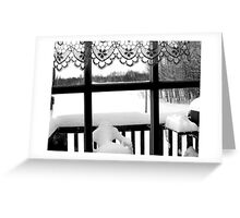 Winter scene through the Window in Northern Ontario, Canada Greeting Card