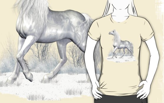 Mystical White Horse .. tee shirt by LoneAngel