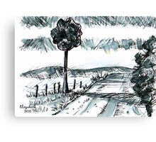 Pen-and-ink landscape Canvas Print