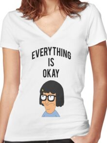 EVERYTHING IS OKAY! Women's Fitted V-Neck T-Shirt