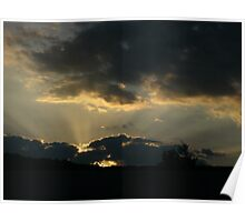 rays of light shinnning through clouds Poster