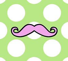 Curly Moustache, Polka Dots - Black Pink Green by sitnica