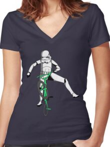 stormtrooper on a bike Women's Fitted V-Neck T-Shirt