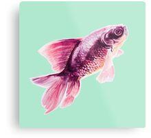 Magneta Fish on Mint  Metal Print