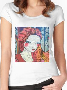Little Red modern red portrait Women's Fitted Scoop T-Shirt