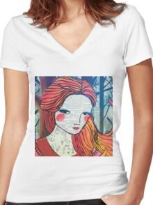 Little Red modern red portrait Women's Fitted V-Neck T-Shirt