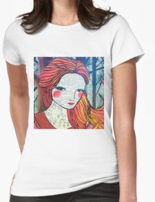 Little Red modern red portrait Womens Fitted T-Shirt
