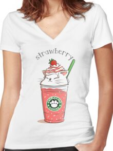 Strawberry CATpuccino Women's Fitted V-Neck T-Shirt