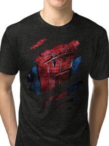 Spider Ripped Man Chest Tri-blend T-Shirt