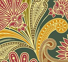 Oriental Persian Paisley - Green Yellow Red by sitnica
