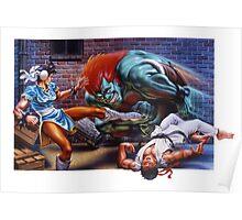 Classic Retro Street Fighter II SNES Poster