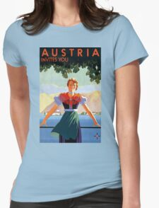 Austria Vintage Travel Poster Womens Fitted T-Shirt