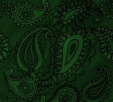 Oriental Persian Paisley, Flowers - Green  by sitnica