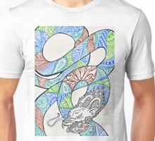 Water and Earth Zentangle Dragon Unisex T-Shirt