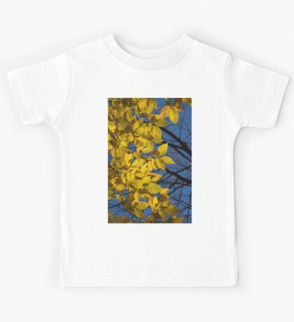 Sapphire and Gold - Blue Sky, Golden Leaves & Bright Sunlight Kids Tee
