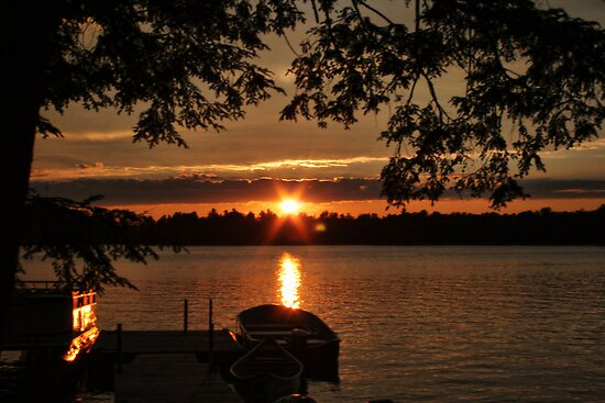 Sunset Over Crystal Lake by Lynne Morris