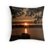 Sunset Over Crystal Lake Throw Pillow