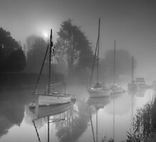 Boats in a misty sunrise - Wareham by Kathy White