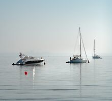 Three boats and a red buoy by Kathy White