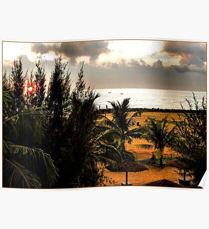 SUNSET ON NEGOMBO BEACH.SRI LANKA. Poster