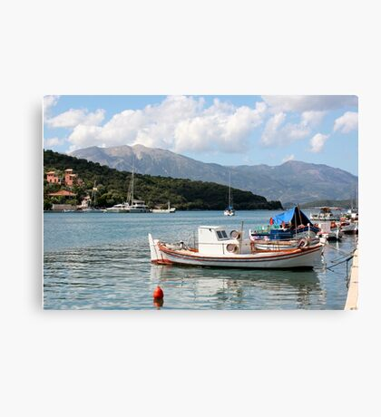 Greek Fishing Boat in Vathy Harbour, Meganissi Canvas Print