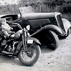 1934 Ford Roadster and 1936 Harley by roserock