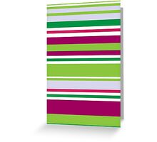 Stripes (Parallel Lines) - Blue Green Pink White Greeting Card