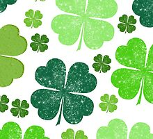 Saint Patrick's Day, Clovers - Green White by sitnica