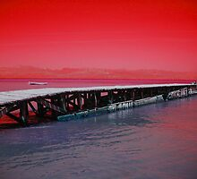 Jetty at Dusk (red): for Kay by Daniela Di-Benedetto