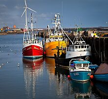 Fishing boats in harbour by Violaman