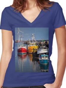 Fishing boats in harbour Women's Fitted V-Neck T-Shirt