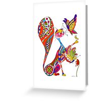 Cat and two butterflies Greeting Card