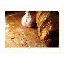 Garlic Bread in the making Art Print