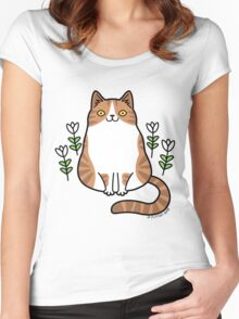 Brown and White Cat with Flowers Women's Fitted Scoop T-Shirt