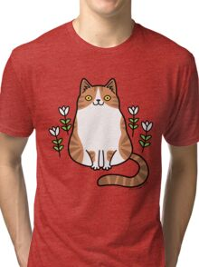 Brown and White Cat with Flowers Tri-blend T-Shirt