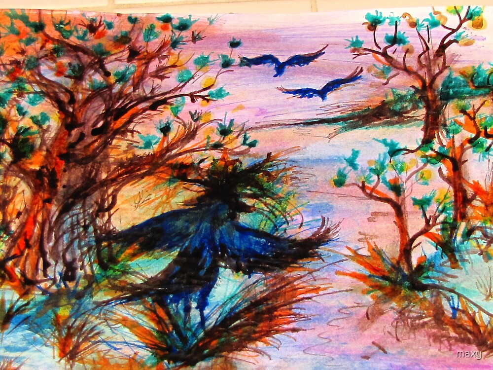 Drawing Day... created using just ink with a feather  by maxy