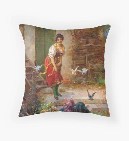 Hans Zatzka Painting Vintage Retro Decor Girls and birds Throw Pillow