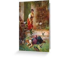 Vintage Girls and birds Greeting Card