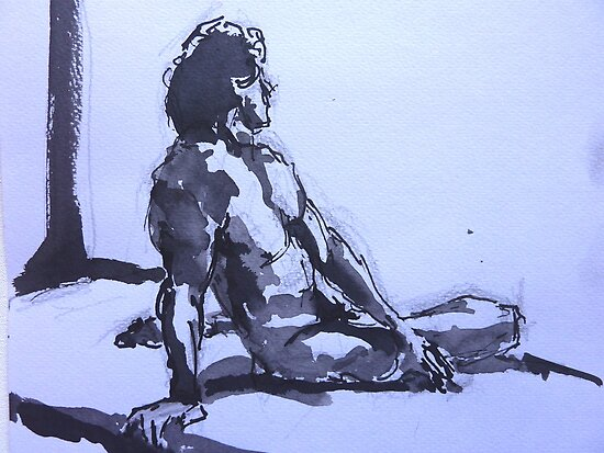 Male Nude - Leaning on One Arm by Peter Johnson