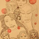 Red Bubble Faces by eoconnor