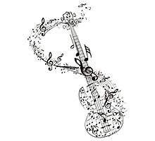 Guitar and Music Notes Photographic Print