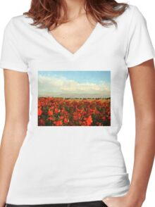 RED IMPRESSIONISM Women's Fitted V-Neck T-Shirt