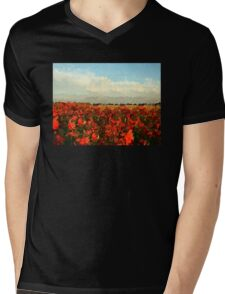 RED IMPRESSIONISM Mens V-Neck T-Shirt