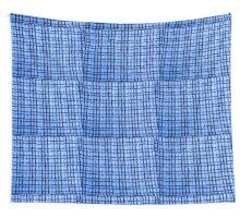 Blue Plaid Knitting Wall Tapestry