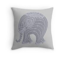 Lacy gray doodle elephant in gray Throw Pillow