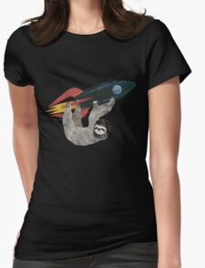 Sloth Rocket Race Womens Fitted T-Shirt
