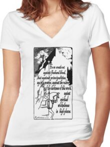 EPHESIANS 6:12 - WICKEDNESS IN HIGH PLACES Women's Fitted V-Neck T-Shirt