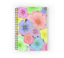 Pretty pastel flower drawing in many colours Spiral Notebook