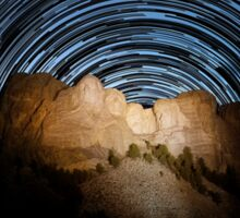Star trails over Mount Rushmore National Memorial Sticker