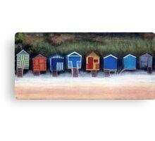 Beach Huts On Wells Beach Canvas Print